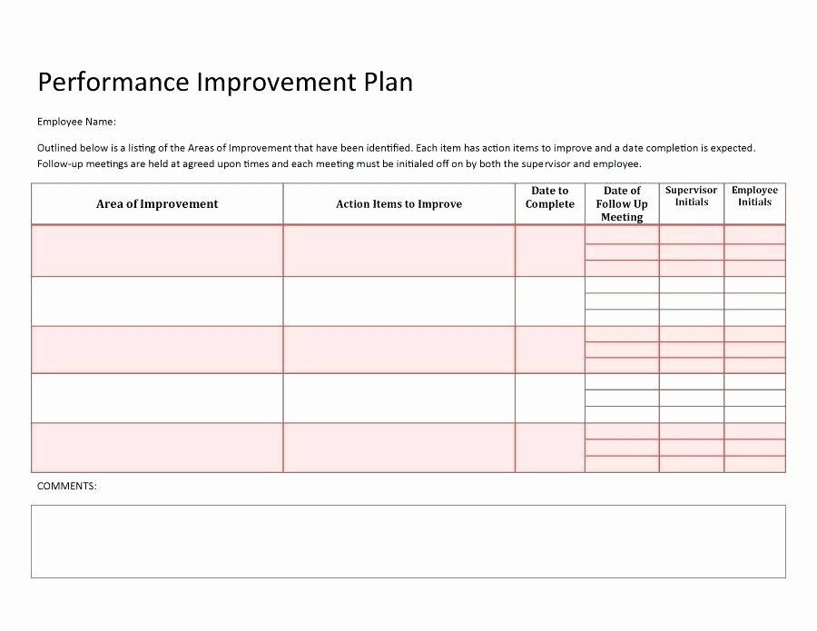 Free Performance Improvement Plan Template Documenting Employee Performance Template Unique Employee