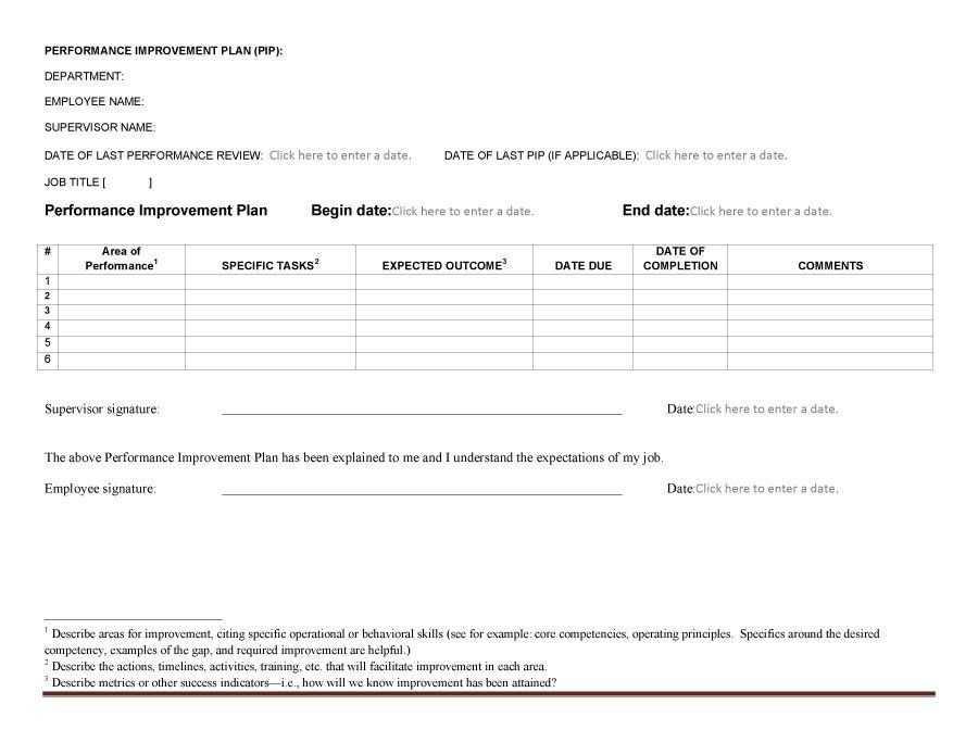 Free Performance Improvement Plan Template Download Performance Improvement Plan Template 13