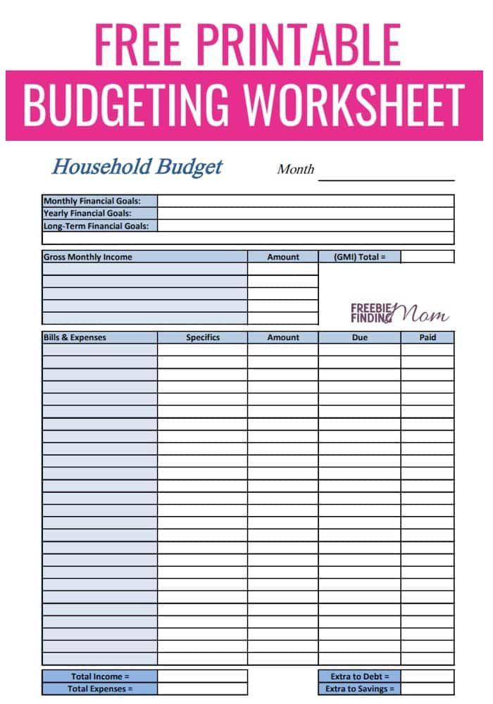 Free Printable Budget Planner Template Free Printable Bud Worksheets