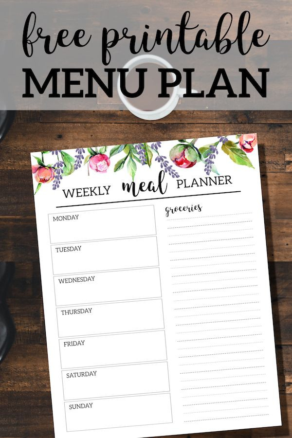 Free Printable Meal Plan Template Floral Free Printable Meal Planner Template