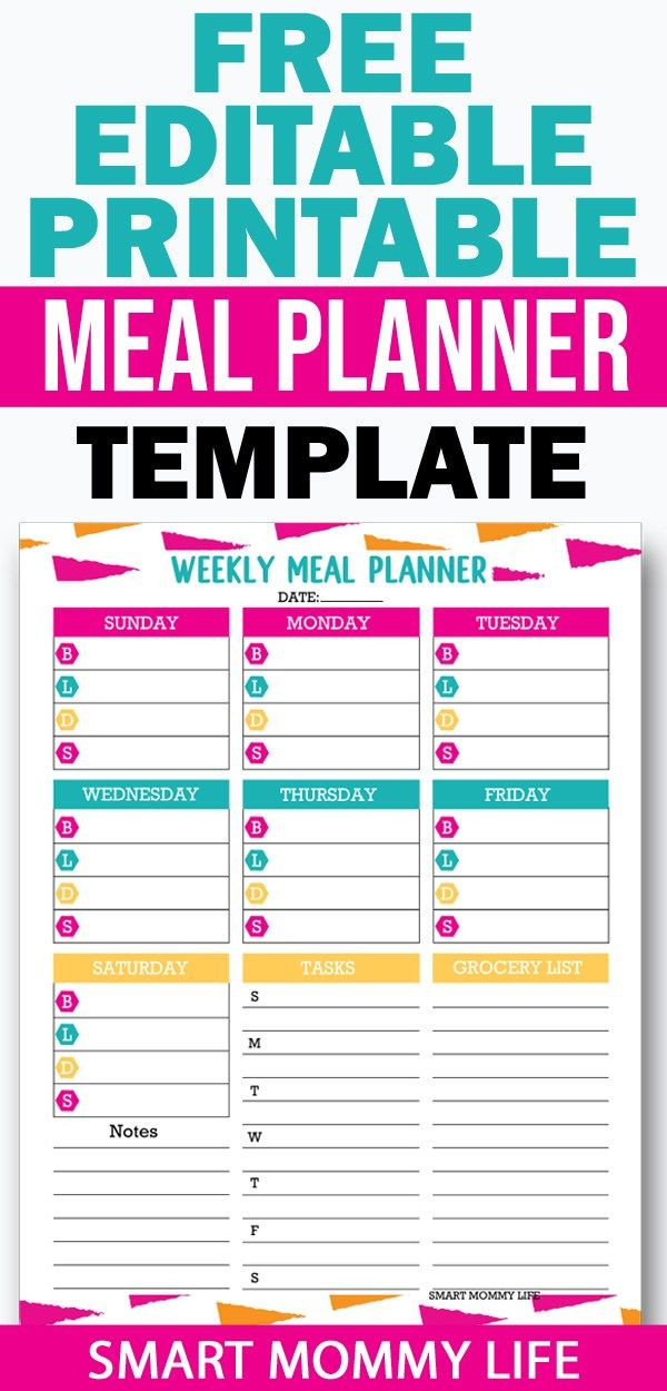 Free Printable Meal Plan Template Free Editable Printable Meal Planner Template for Easy