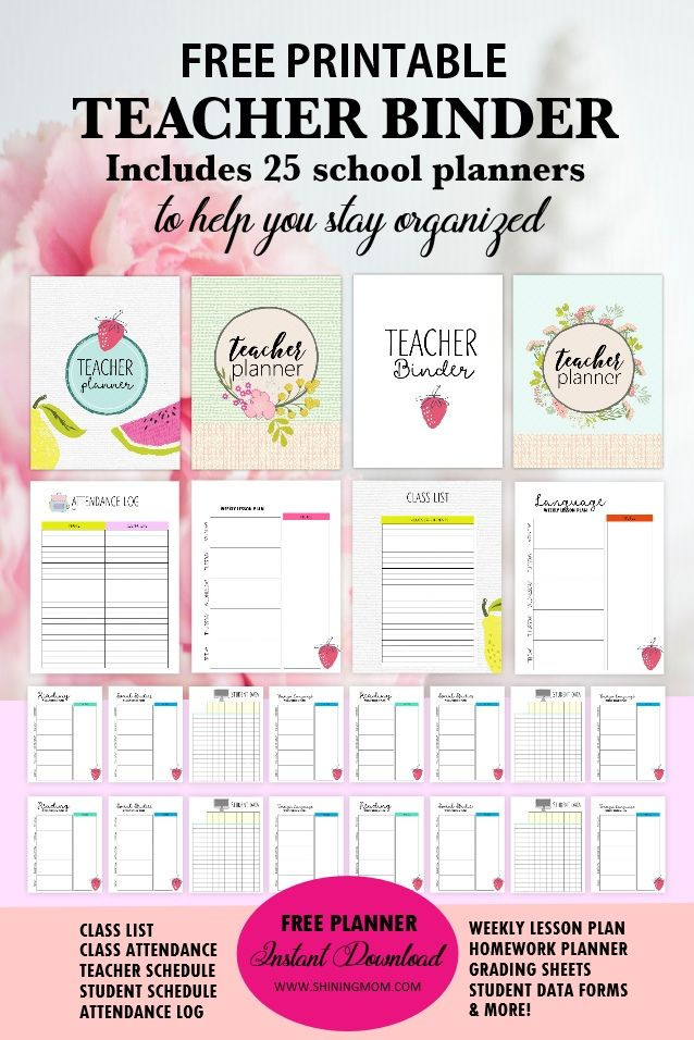 Free Teacher Planner Template Free Teacher Binder Printables Over 25 Pretty Planning