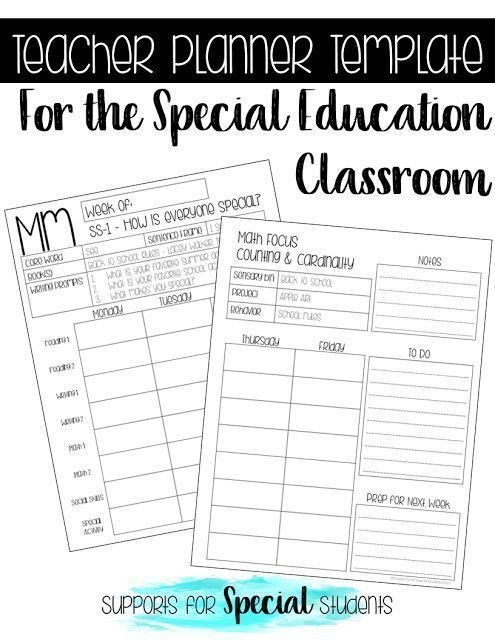 Free Teacher Planner Template Teacher Planner Template for the Special Education Classroom