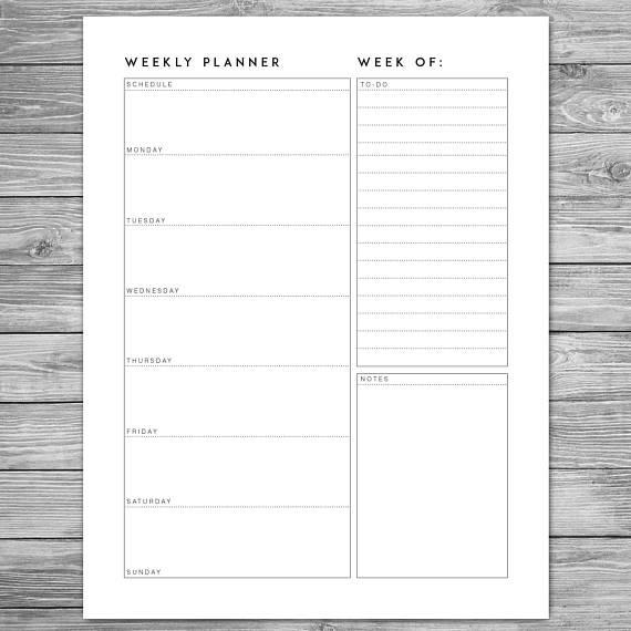 Free Weekly Planner Template Printable Minimalist Weekly Planner Weekly Schedule Weekly