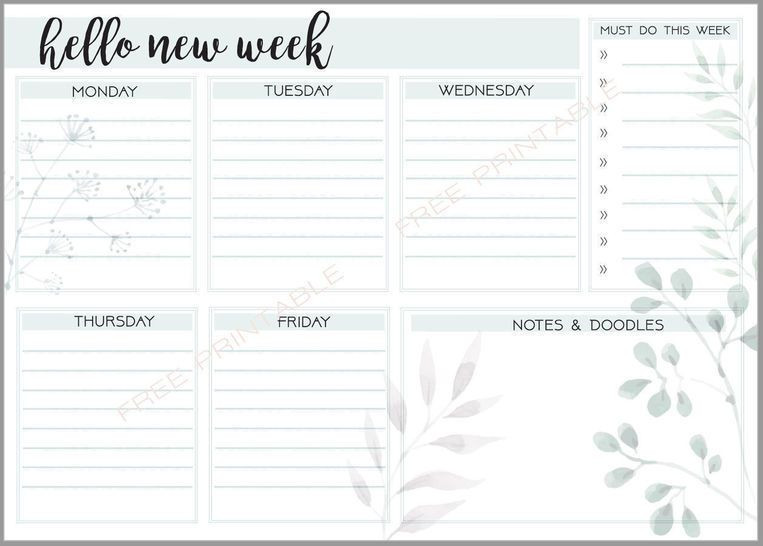 Free Weekly Planner Template Your Week at A Glance Stay organized with This Free Pdf