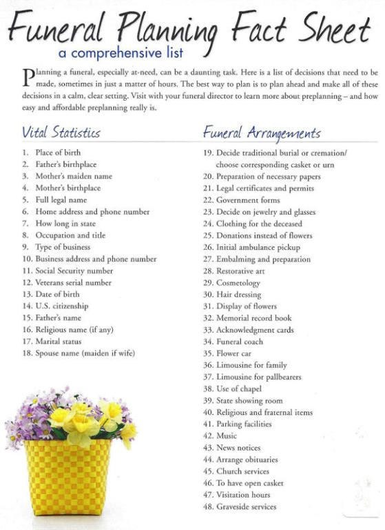 Funeral Planning Checklist Template Funeral Checklist Phillips Funeral Home