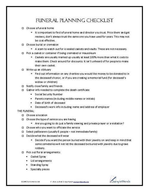 Funeral Planning Checklist Template Funeral Planning Checklist