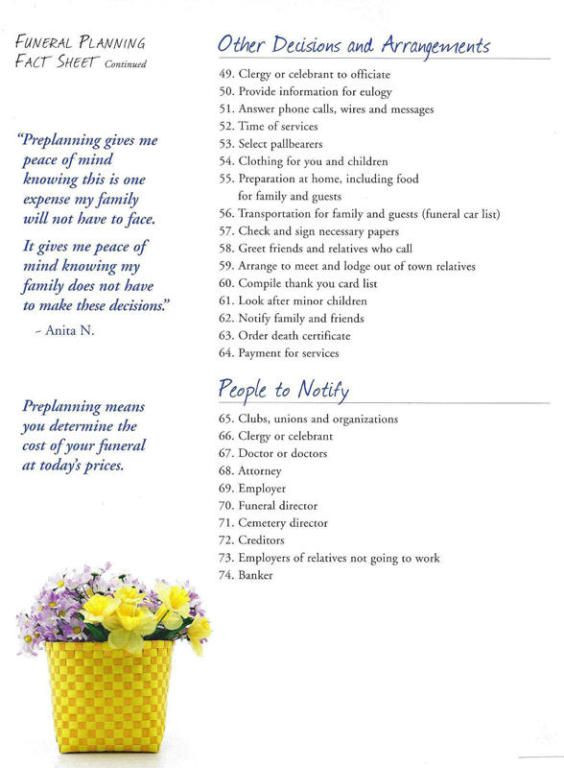 Funeral Planning Checklist Template Phillips Funeral Home Offers A Variety Of Funeral Services