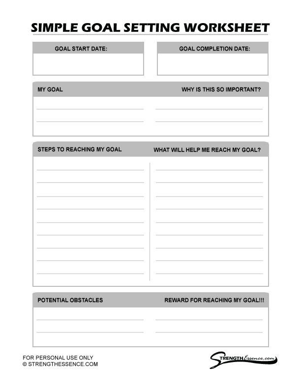 Goal Planning Template Free 2020 Simple Goal Setting Worksheet Pdf Strength