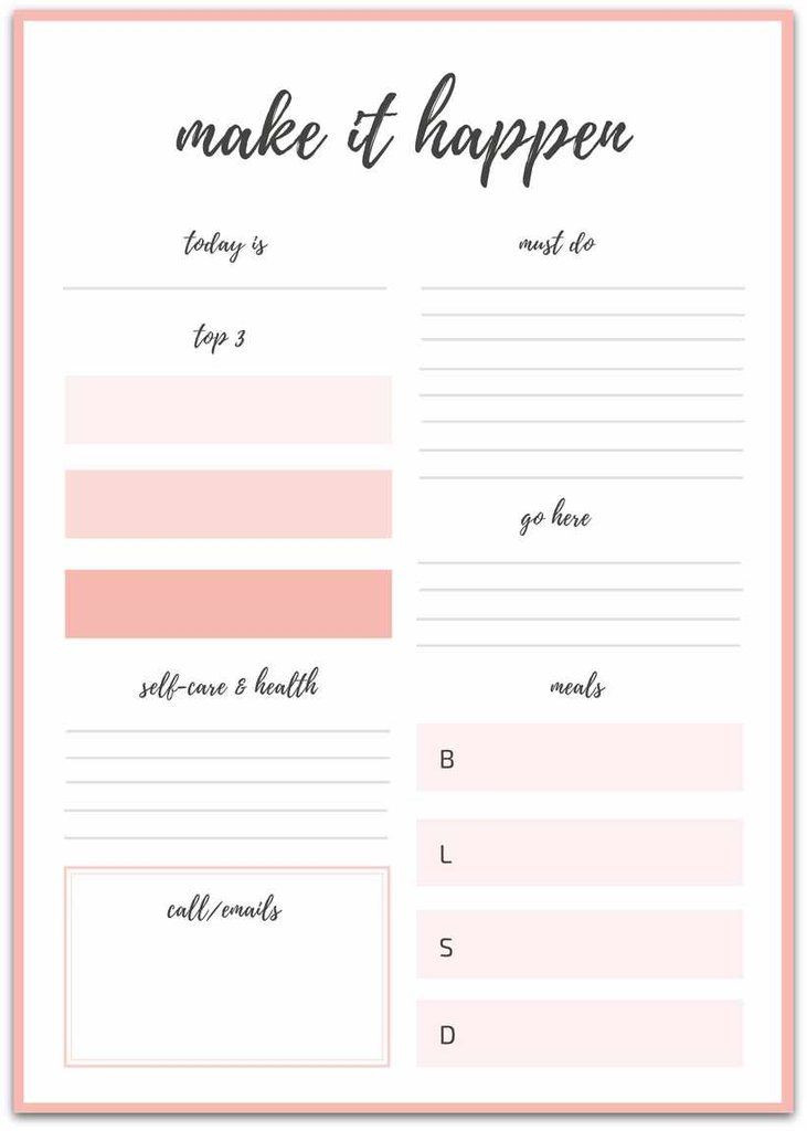Goal Planning Template Printable Daily Planner