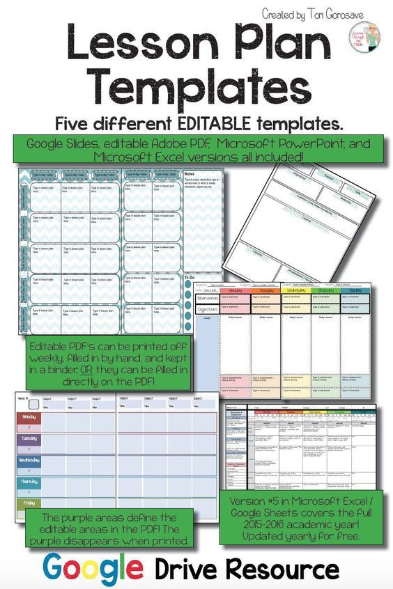 Google Drive Lesson Plan Template Lesson Plan Templates Multiple Editable Templates Google