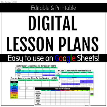Google Sheets Lesson Plan Template Digital Teacher Lesson Plans On Google Sheets Editable and