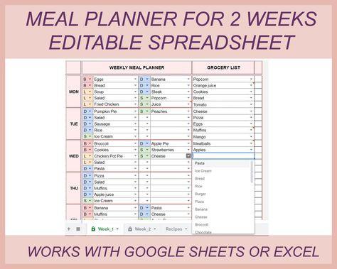 Google Sheets Meal Planner Template Digital Meal Planner Grocery List Meal Planner Excel Meal