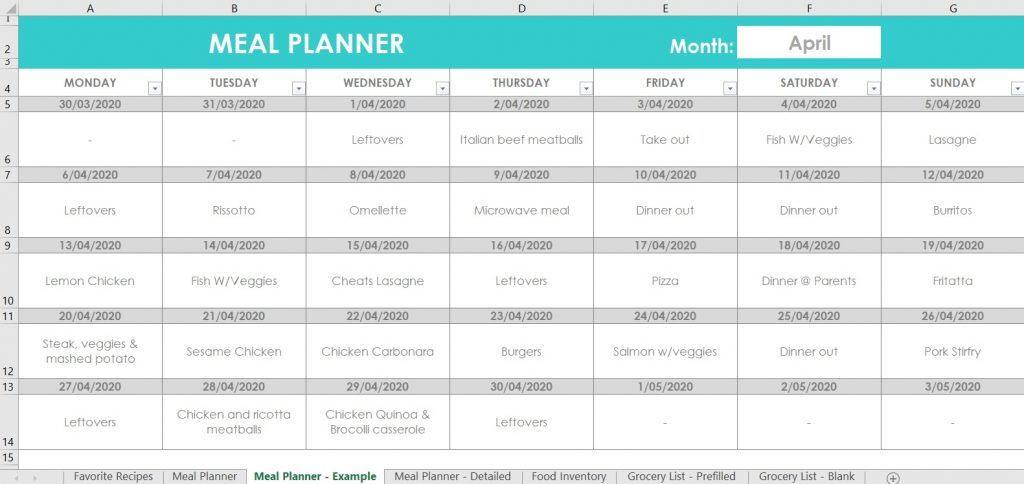 Google Sheets Meal Planner Template How I Use Excel for organizing Recipes Meal Planning Food