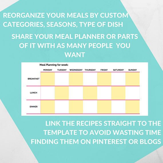 Google Sheets Meal Planner Template Meal Planner Template Spreadsheet Grocery Planning Excel