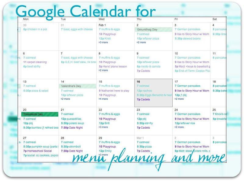 Google Sheets Meal Planner Template Menu Planning On Google Calendar