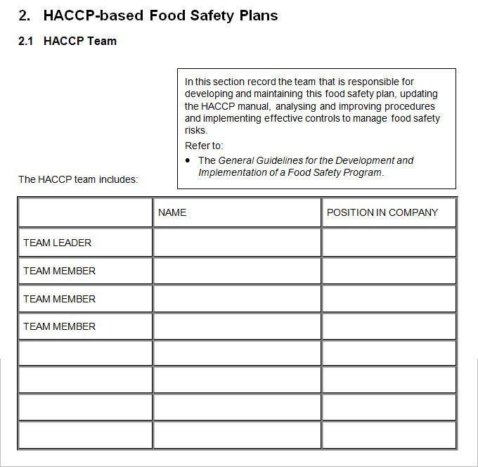 Haccp Food Safety Plan Template Haccp Food Safety Plan Template Unique Haccp Plan Template 5