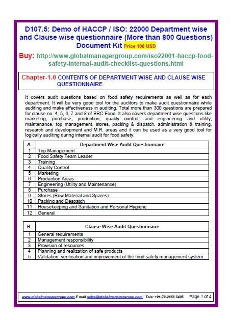 Haccp Food Safety Plan Template iso Food Safety Standards Requirement Wise Audit