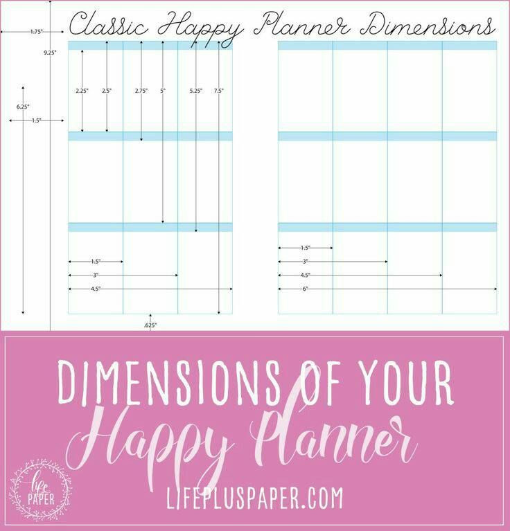 Happy Planner Template Classic Happy Planner Dimensions