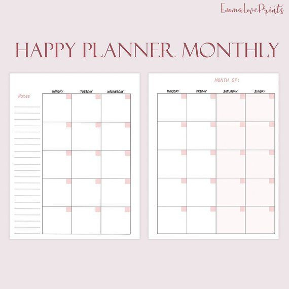 Happy Planner Template Happy Planner Inserts Printable Monthly Inserts for Happy