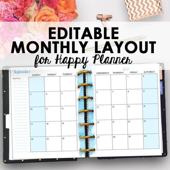 Happy Planner Template Happy Planner Monthly Inserts Happy Planner Inserts