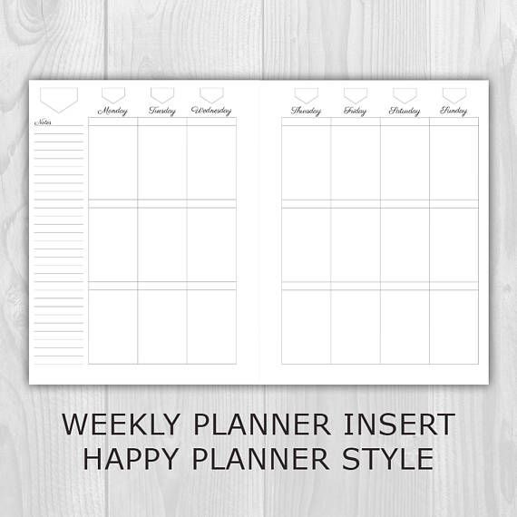 Happy Planner Template Weekly Planner Printable Happy Planner Classic Style Undated