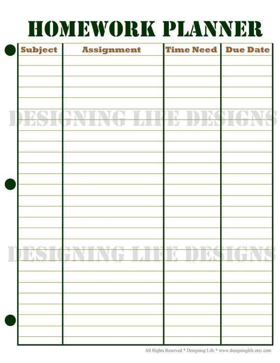 Homework Planner Template Homework Planner and Weekly Homework Sheet by Designinglife