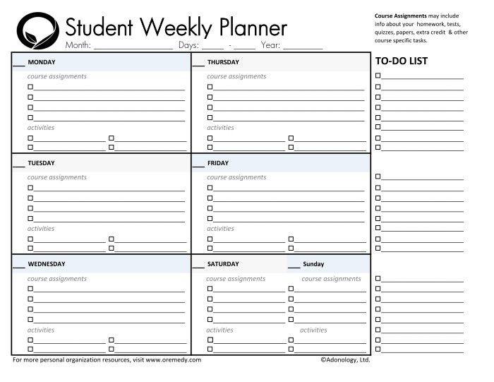 Homework Planner Template Pin by Rhonda Easter On Planners
