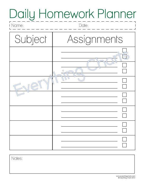 Homework Planner Template Pin On School Stuff Homework