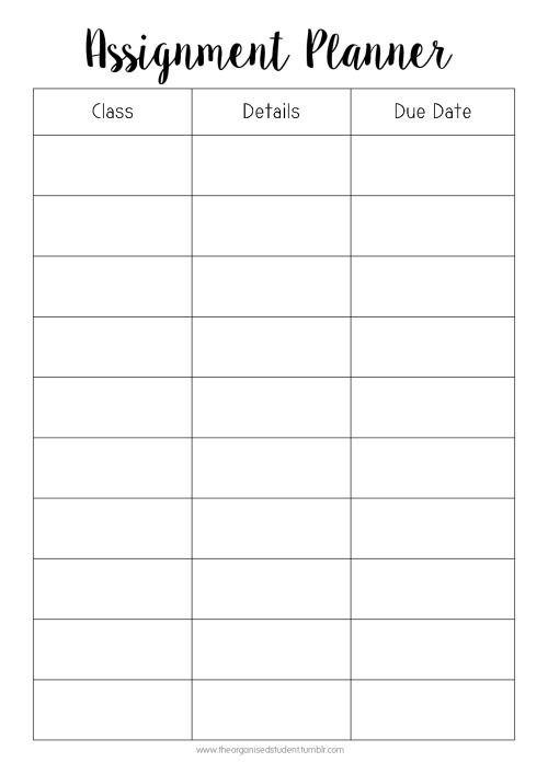 Homework Planner Template Tumblr