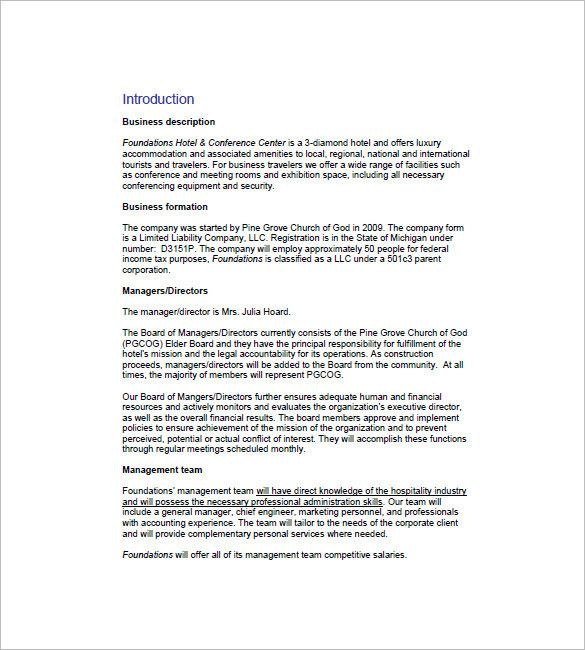 Hotel Business Plan Template Hotel Business Plan Template Best Hotel Business Plan