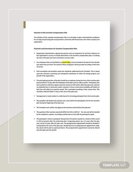 Incentive Compensation Plan Template Incentive Pensation Plan Template Word