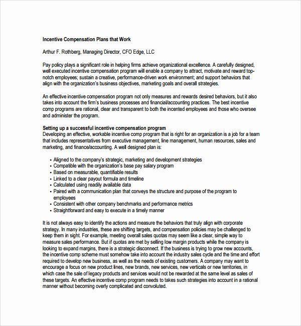 Incentive Compensation Plan Template Incentive Plan Template Beautiful Sample Pensation Plan