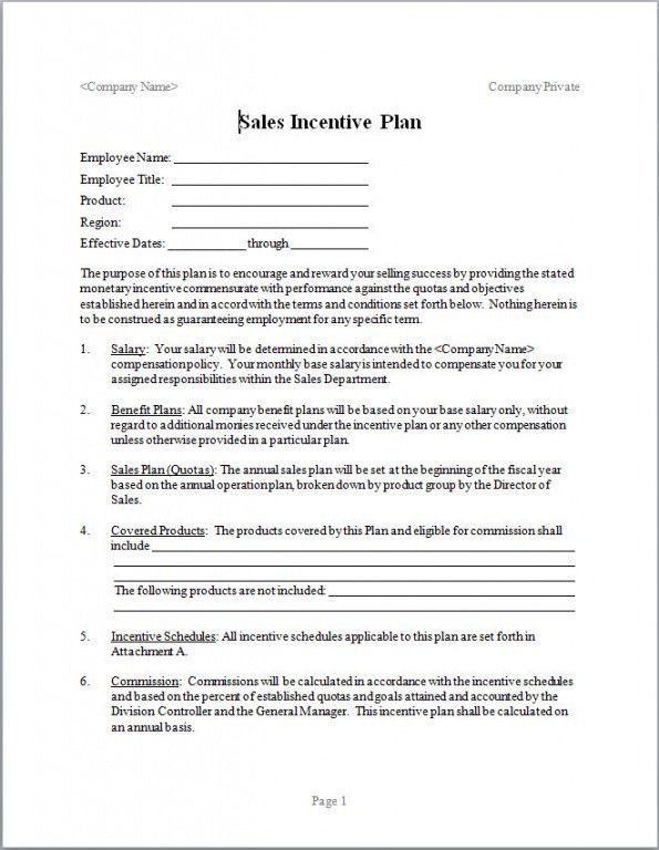 Incentive Compensation Plan Template Sales Pensation Plan Template Excel In 2020