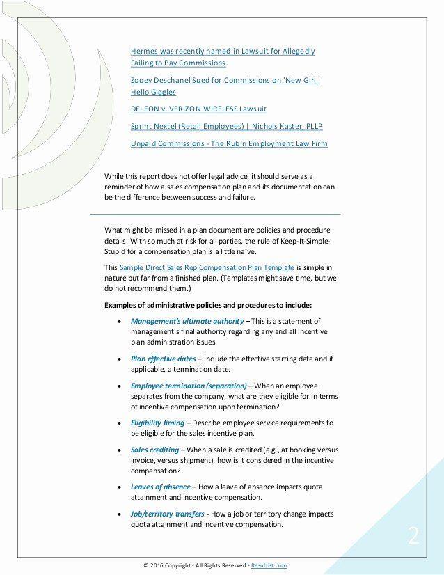 Incentive Compensation Plan Template Sales Pensation Plan Template Fresh Sales Pensation Plans