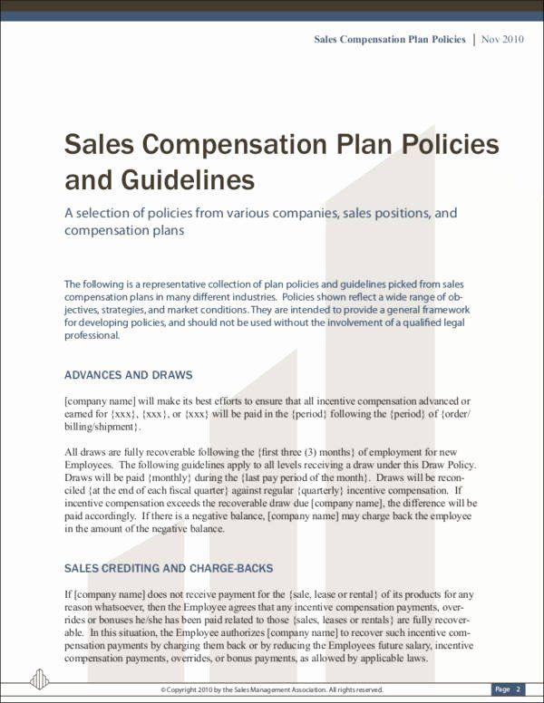 Incentive Compensation Plan Template Sample Bonus Plan Document Beautiful 9 Sales Mission Policy