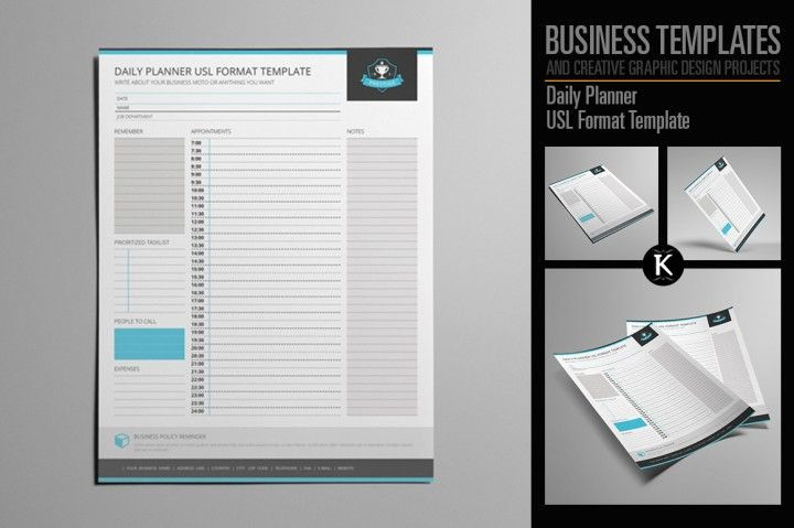 Indesign Business Plan Template Daily Planner Usl format Template