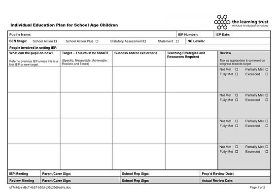 Individual Education Plan Template 404 Not Found