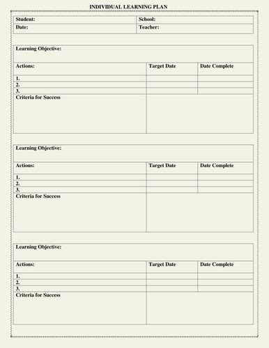 Individual Learning Plan Template Personal Learning Plan Template Beautiful Individual
