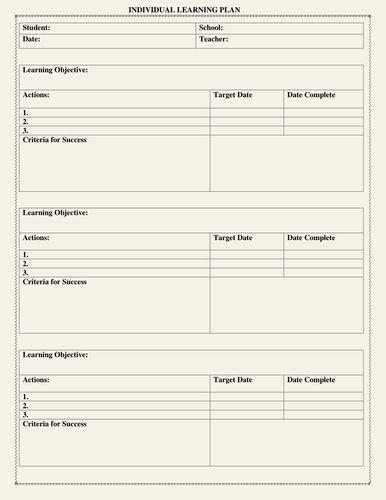 Individual Student Success Plan Template Individual Learning Plan Template Beautiful Individual