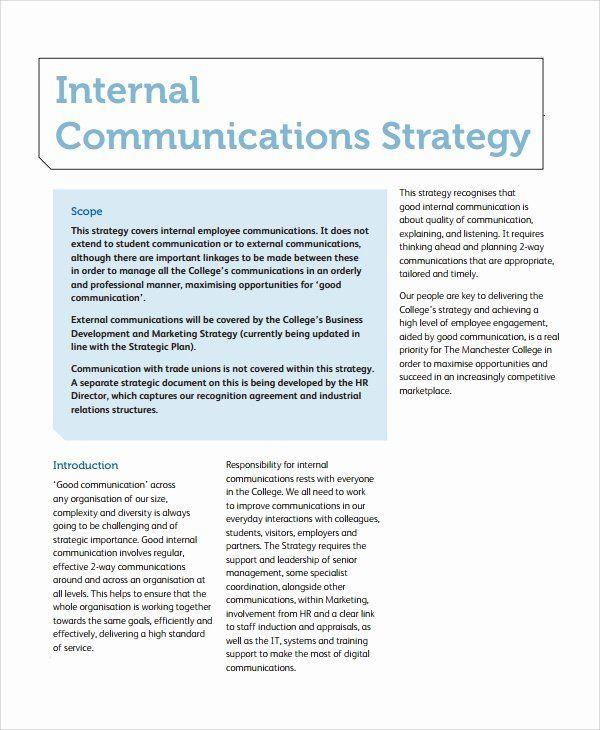 Internal Communication Plan Template Internal Munication Plan Template Inspirational 12