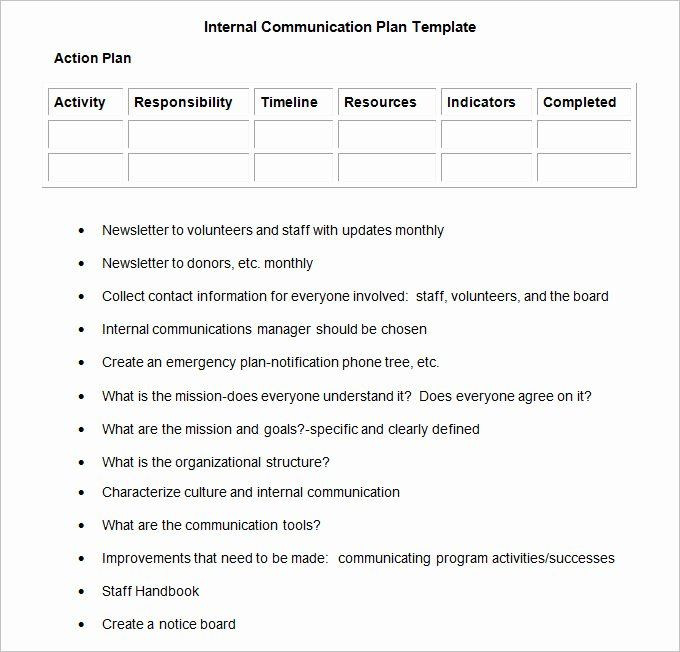 Internal Communication Plan Template Munication Plan Template Free Luxury Internal Munication