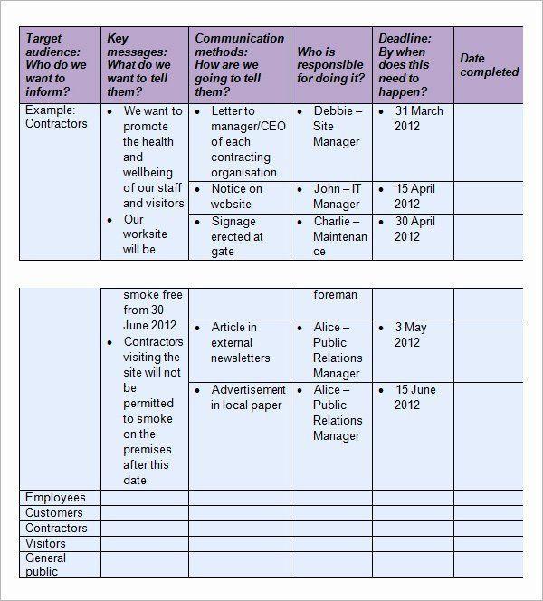Internal Communications Plan Template Internal Munication Plan Template Inspirational 16