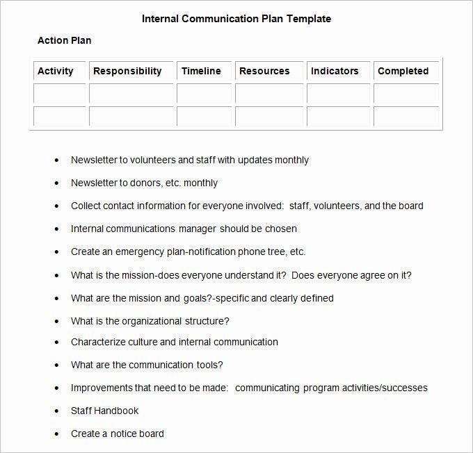 Internal Communications Plan Template Munication Plan Template Free Luxury Internal Munication