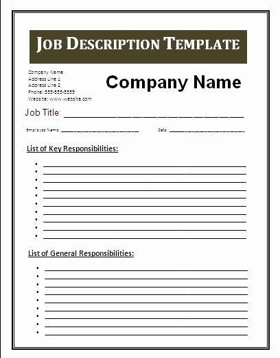 Job Search Plan Template Job Search Plan Template Fresh Job Description Template