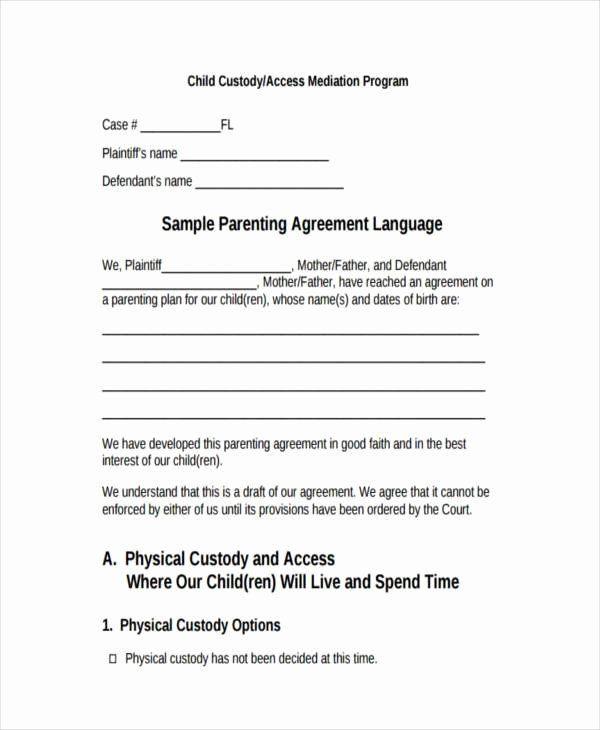 Joint Custody Parenting Plan Template Child Visitation Agreement Template Elegant 8 Custody