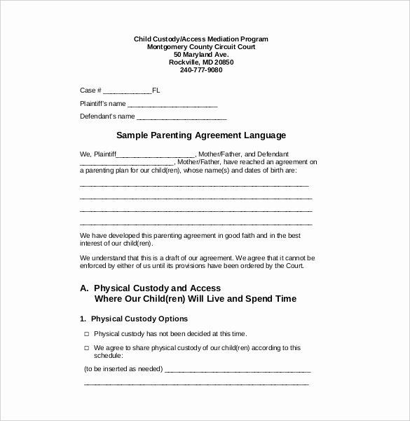 Joint Custody Parenting Plan Template Free Custody Agreement Template Awesome Custody Agreement