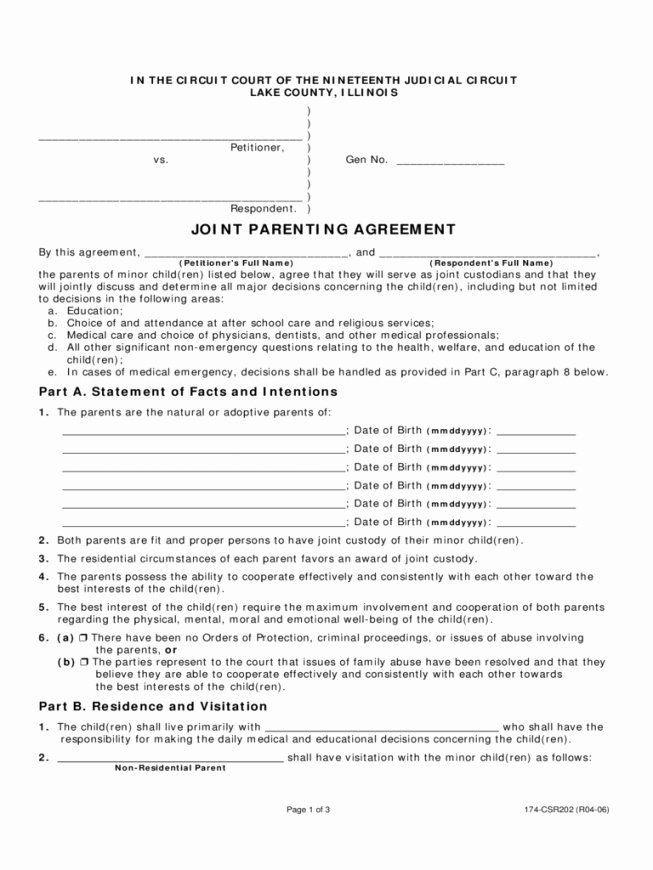 Joint Custody Parenting Plan Template Parenting Plan California Template Best 50 50 Custody