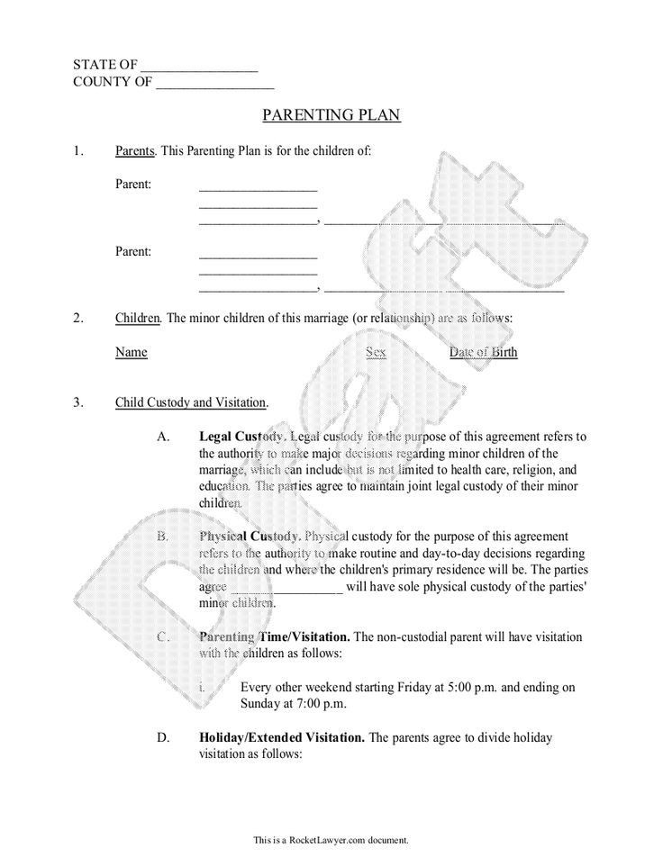 Joint Custody Parenting Plan Template Parenting Plan Child Custody Agreement Template with Sample
