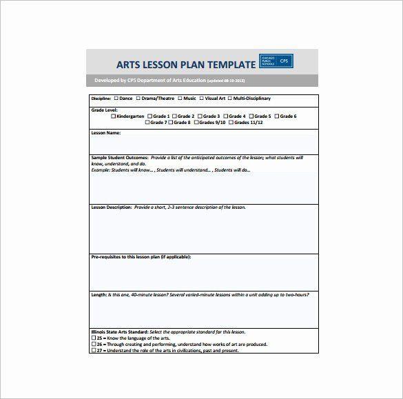 Language Arts Lesson Plan Template Art Lesson Plan Template Awesome Art Lesson Plan Template 10